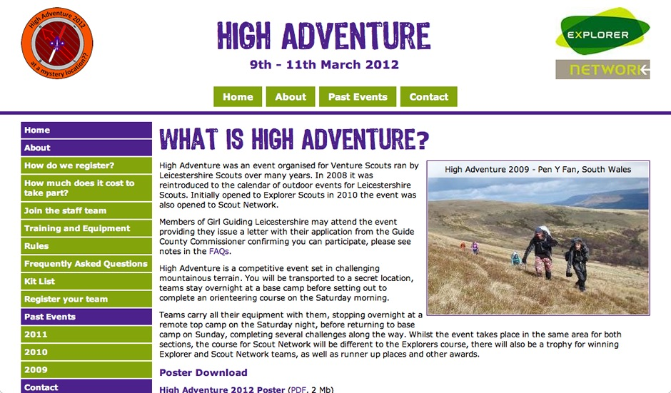Screenshot of High Adventure website from 2012