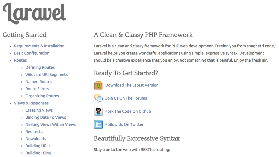 Screenshot of Laravel homepage