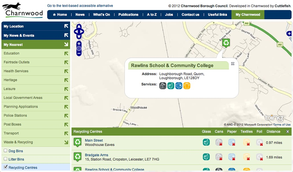 Screenshot of My Charnwood's map showing nearby recycling centres