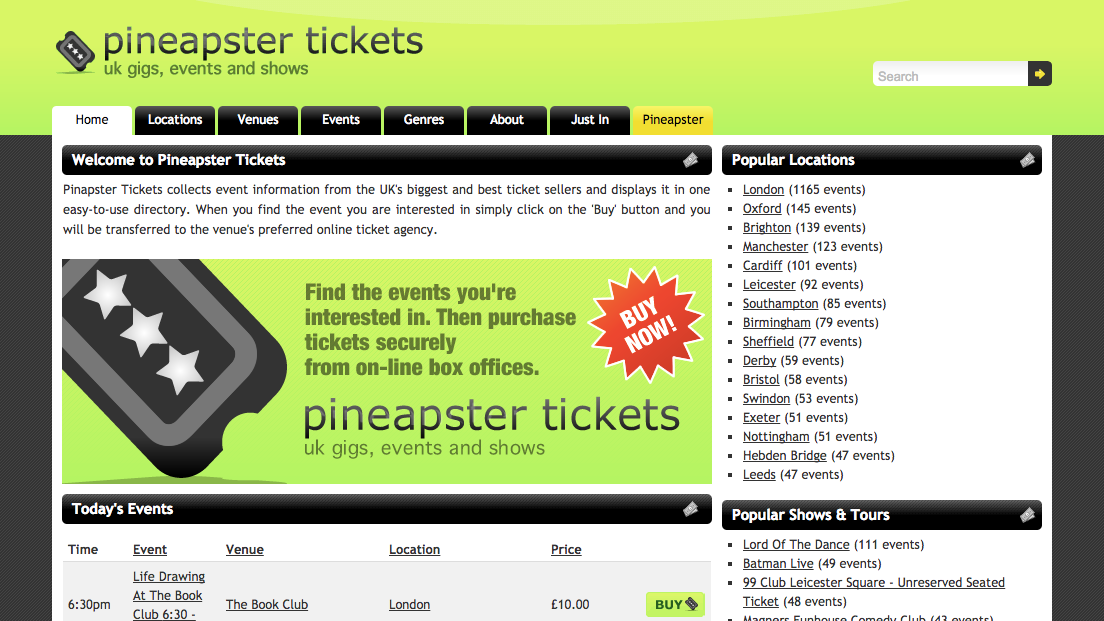 Screenshot of the Pineapster Tickets homepage showing popular locations and today's events