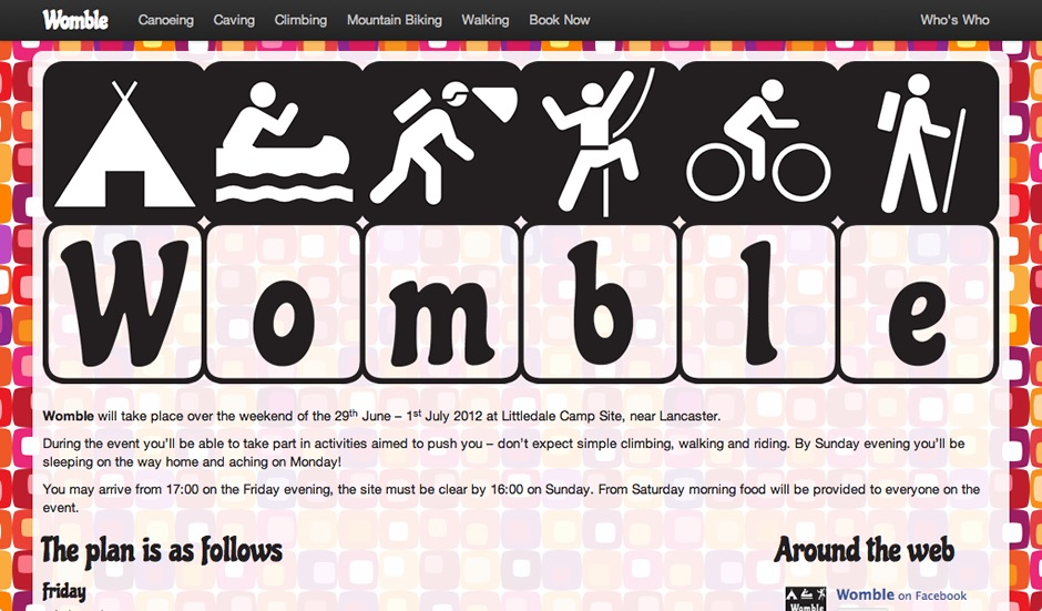 Screenshot of the Womble homepage